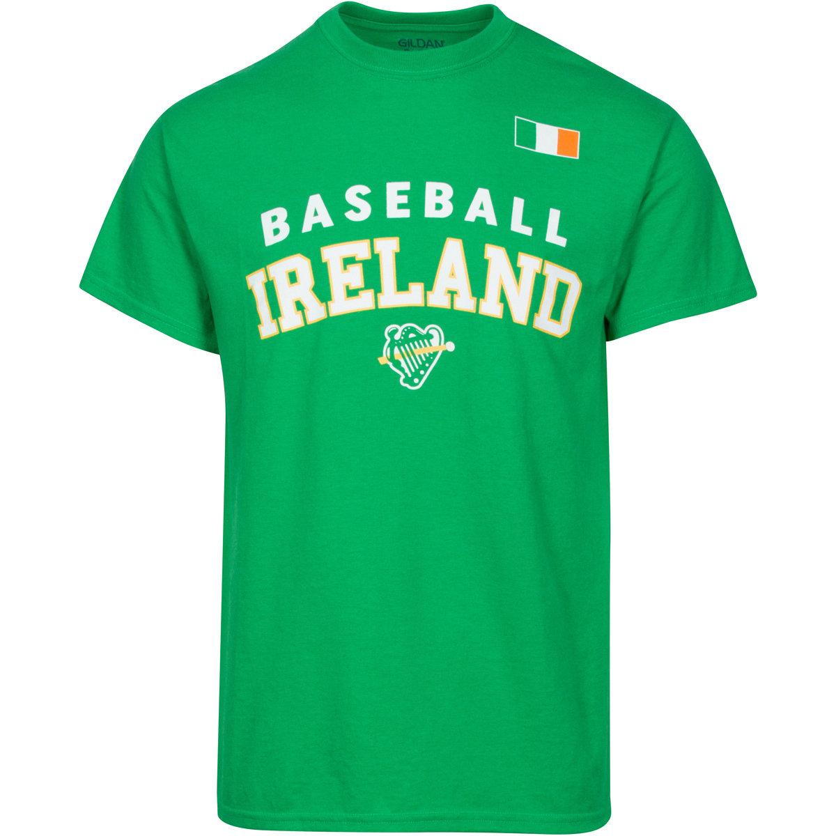 Green Baseball Ireland T-Shirt with White Lettering BITEEFLAG021