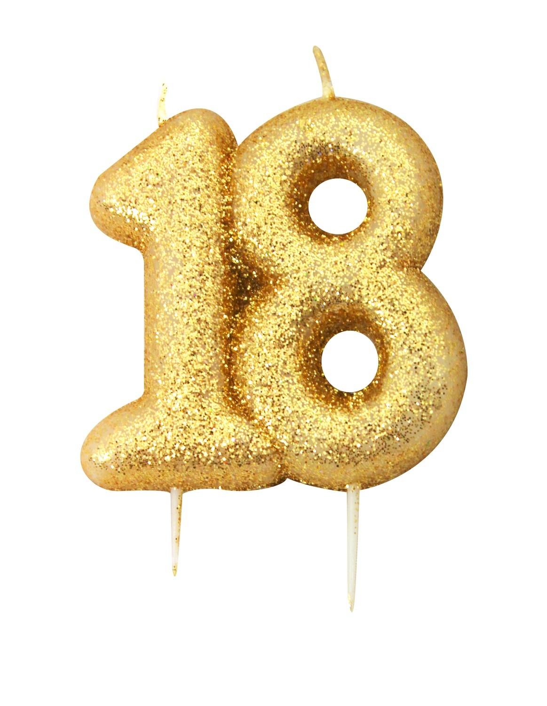 SALE!!! By AH -Candles -GLITTER NUMERAL -GOLD '18' -Κεράκι Χρυσό Γκλίτερ αριθμός '18'