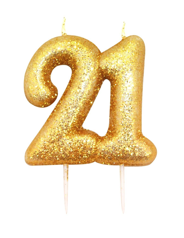 SALE!!! By AH -Candles -GLITTER NUMERAL -GOLD '21' -Κεράκι Χρυσό Γκλίτερ αριθμός '21'