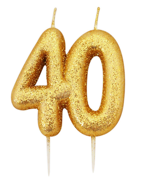 SALE!!! By AH -Candles -GLITTER NUMERAL -GOLD '40' -Κεράκι Χρυσό Γκλίτερ αριθμός '40'