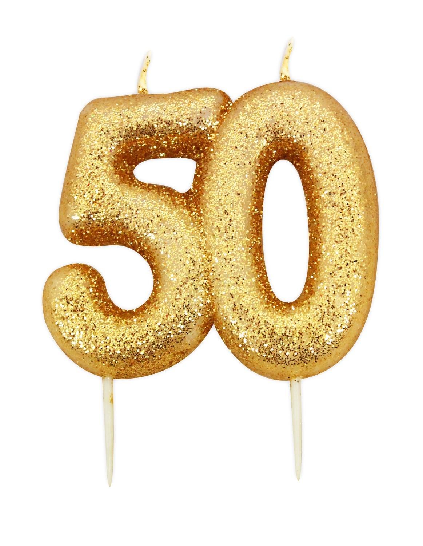 SALE!!! By AH -Candles -GLITTER NUMERAL -GOLD '50' -Κεράκι Χρυσό Γκλίτερ αριθμός '50'