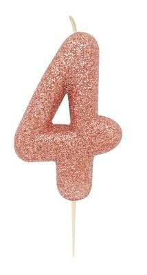 By AH -Candles -GLITTER ROSE GOLD '4' -Κεράκι Ροζ Χρυσό Γκλίτερ αριθμός '4'
