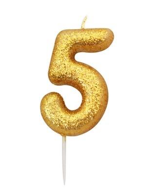 By AH -Candles -GLITTER GOLD '5' -Κεράκι Χρυσό Γκλίτερ αριθμός '5'
