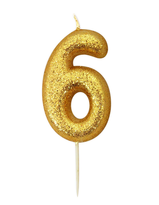 By AH -Candles -GLITTER GOLD '6' -Κεράκι Χρυσό Γκλίτερ αριθμός '6'
