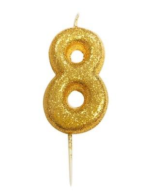By AH -Candles -GLITTER GOLD '8' -Κεράκι Χρυσό Γκλίτερ αριθμός '8'