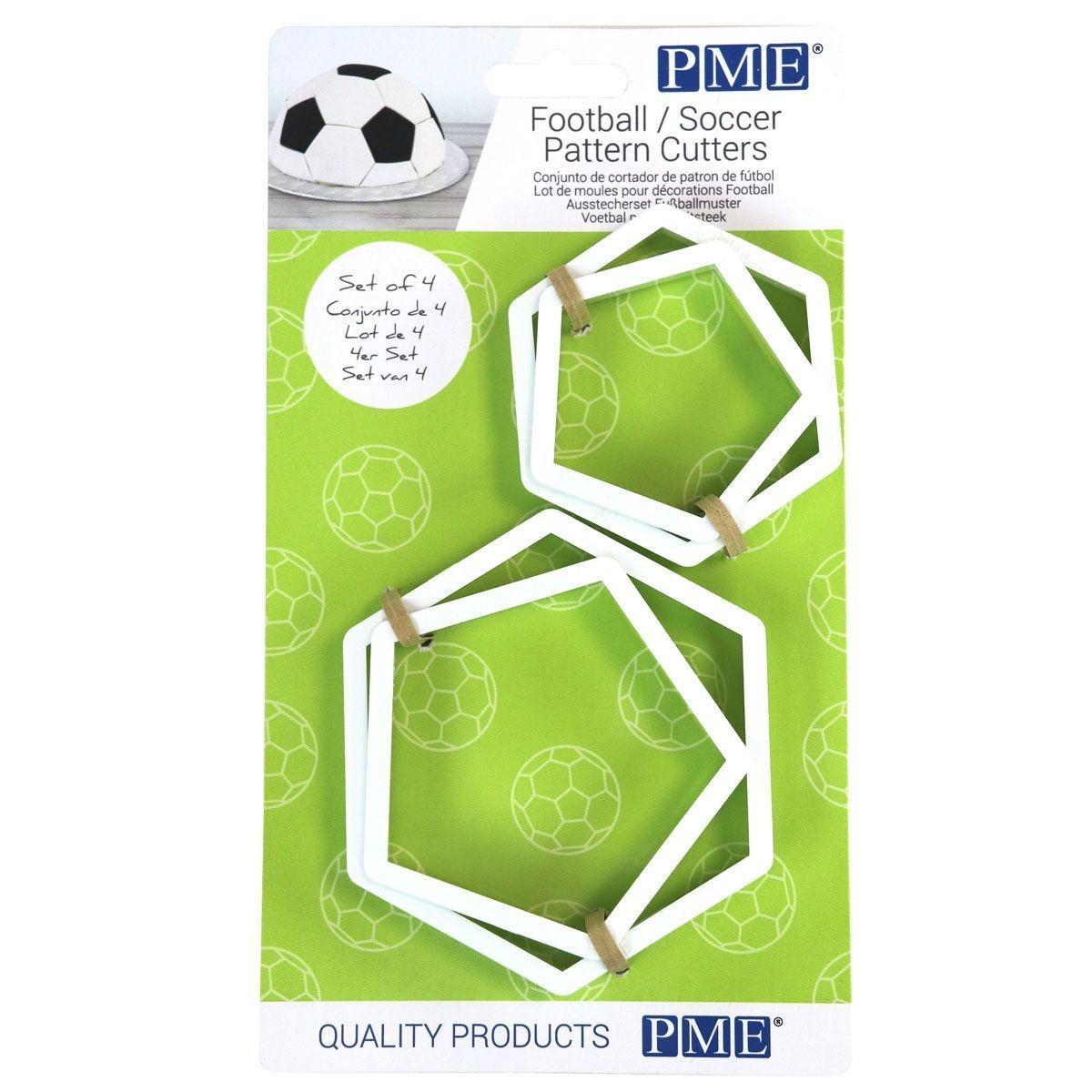 PME Geometric Cutters -Set of 4 -FOOTBALL/Soccer Pattern Cutters -Σετ κοπής για μπάλα ποδοσφαίρου
