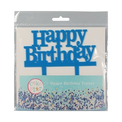 Cake Star Topper -'Happy Birthday' -BLUE -Τόπερ Τούρτας