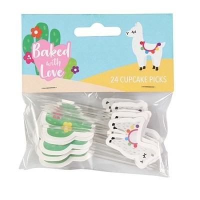 Baked With Love Cupcake Toppers -LLAMA -Τόπερ Λάμα -24τεμ