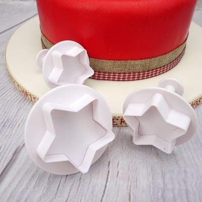 Cake Star Plunger Cutters -STARS -LARGE -Κουπάντ αστέρια με εκβολέα 3 τεμ.