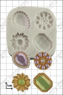 By FPC -Silicone Mould -JEWELLED BROOCHES - Καλούπι με καρφίτσες