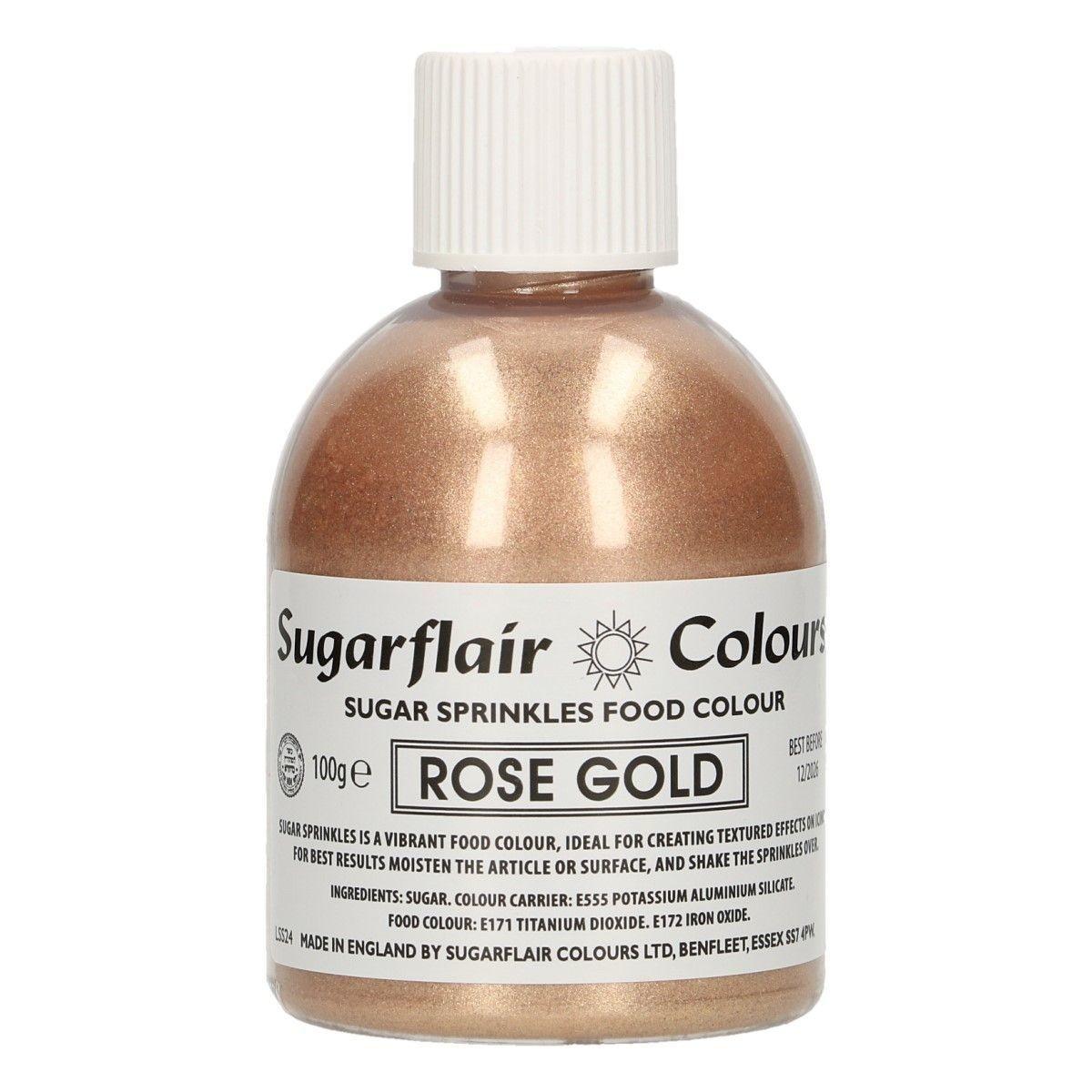 Sugarflair -Sparkling Sugar Sprinkles -ROSE GOLD 100g