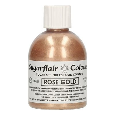 Sugarflair -Sparkling Sugar Sprinkles -ROSE GOLD 100g