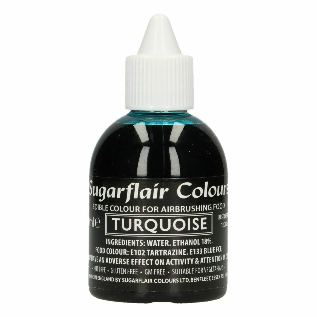 Sugarflair Airbrush Colour -MATT TURQUOISE -Χρώμα Αερογράφου ματ -Τουρκουάζ 60ml