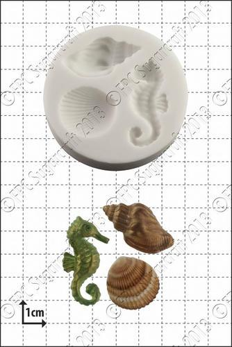 FPC - Seahorse & Shells Silicone Mould - Καλούπι Ιππόκαμπος & Κοχύλια