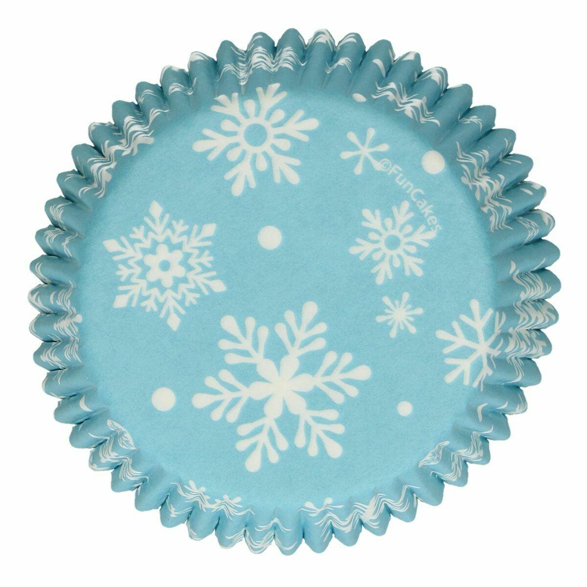 FunCakes Cupcake Cases -FROZEN SNOWFLAKES -Θήκες Ψησίματος 48 τεμ - Χειμερινό θέμα