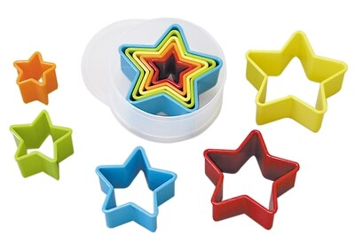 By AH -Set of Plastic Cookie Cutters -STARS -Σετ Πλαστικά Κουπάτ Αστέρια 5 τεμ.