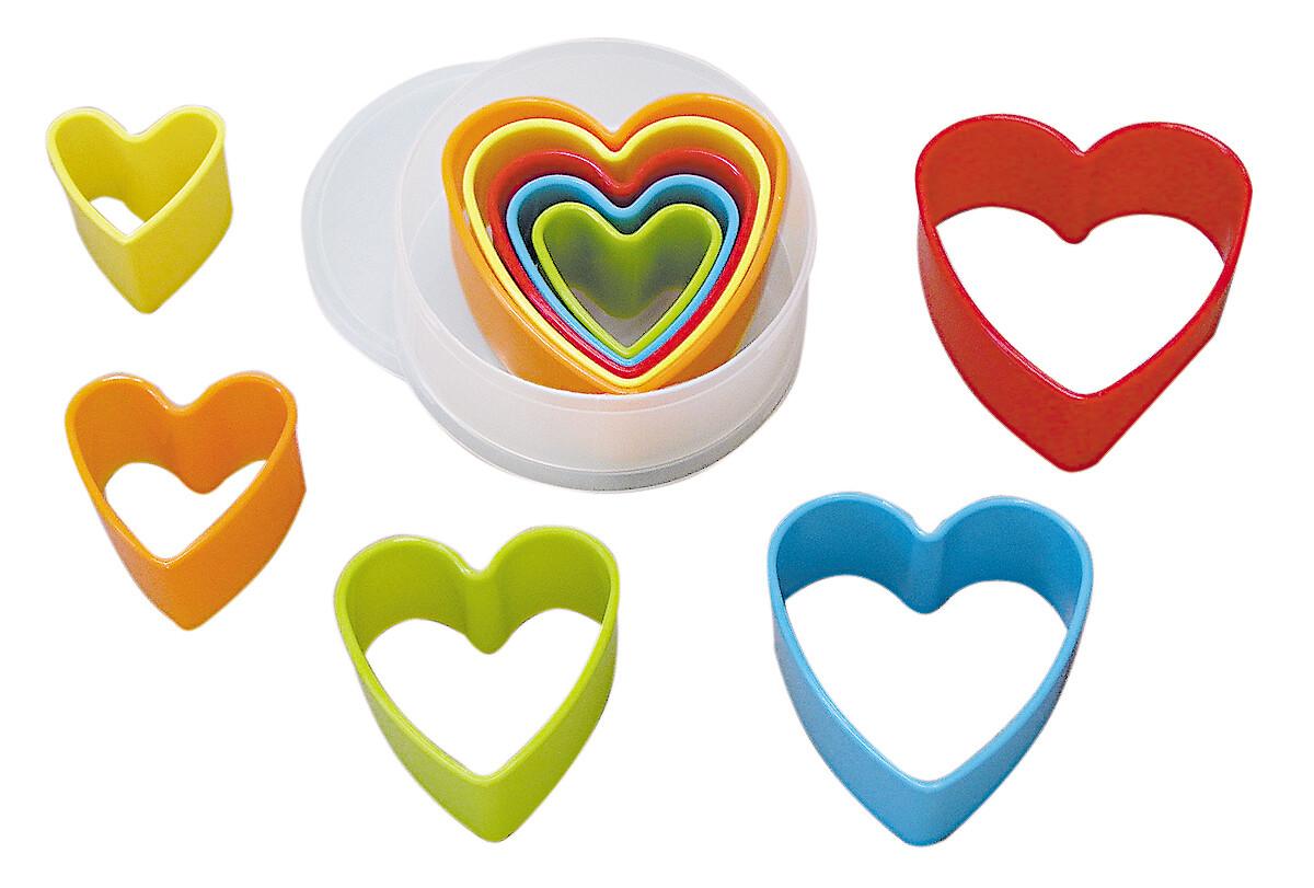 By AH -Set of Plastic Cookie Cutters -HEARTS -Σετ Πλαστικά Κουπάτ Καρδιές 5 τεμ.