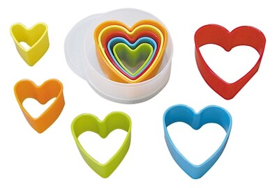 By AH -Set of Plastic Cookie Cutters -HEARTS -Σετ Πλαστικά Κουπάτ Καρδιές 5 τεμ.