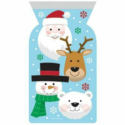 By AH -Gift Bags with Zip Close -Christmas Characters 12 τεμ