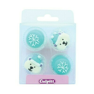 By Culpitt -Sugar Pipings -ARCTIC DESIGNS -SNOWFLAKES & POLAR BEARS -Ζαχαρένια Διακοσμητικά -12 τεμ-ΑΝΑΛΩΣΗ ΚΑΤΑ ΠΡΟΤΙΜΗΣΗ 06/2022