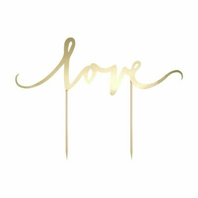 PartyDeco Cake Topper 'Love' - GOLD -Τόπερ Τούρτας