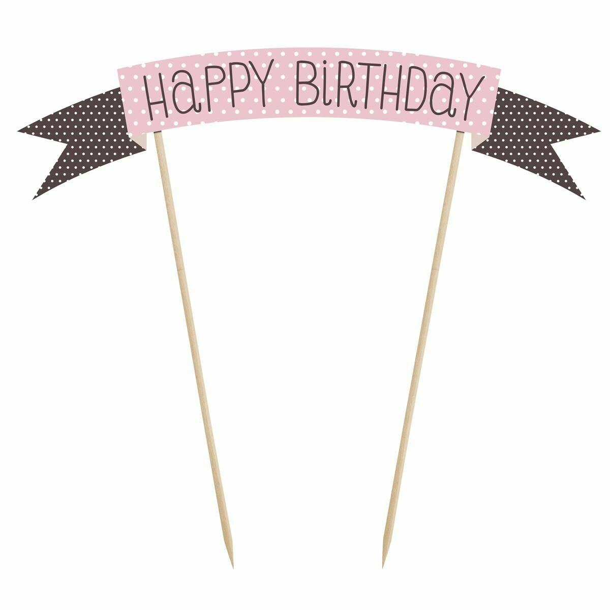 PartyDeco Cake Topper -Sweets -'Happy Birthday' -PINK & BLACK SPOTS Τόπερ Τούρτας