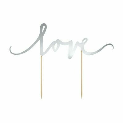 PartyDeco Cake Topper 'Love' - SILVER -Τόπερ Τούρτας