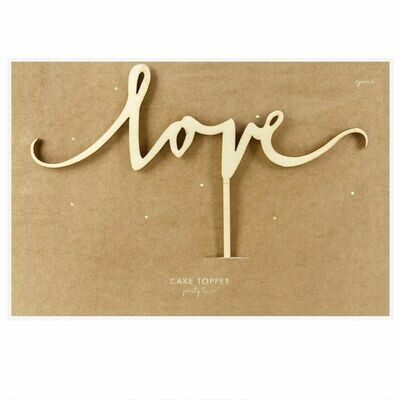 PartyDeco Cake Topper 'Love' - WOODEN -Τόπερ Τούρτας