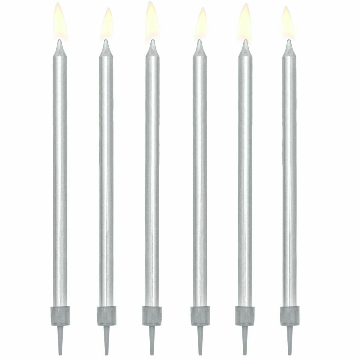 PartyDeco Birthday Candles -12εκ PLAIN SILVER 12 τεμ - Ασημί κεράκια