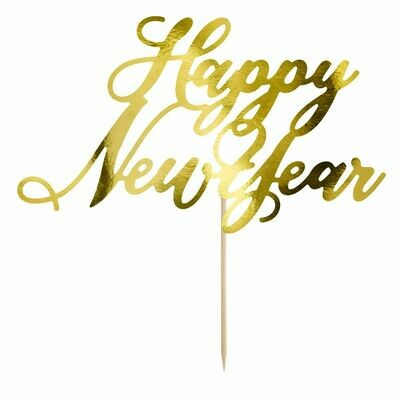 PartyDeco Cake Topper 'Happy New Year' - GOLD -Τόπερ Τούρτας