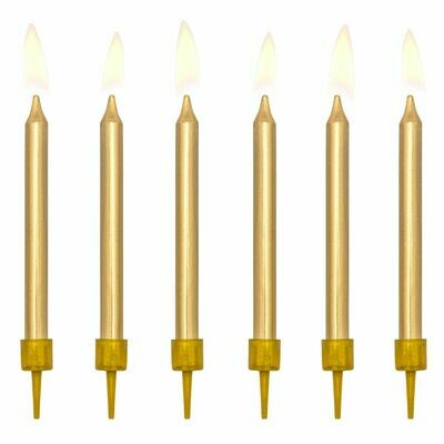 PartyDeco Birthday Candles -6εκ PLAIN GOLD 6 τεμ