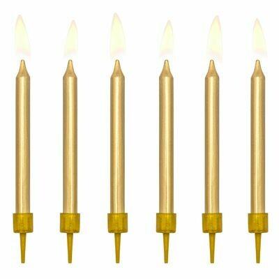 PartyDeco Birthday Candles -6 τεμ PLAIN GOLD 6εκ