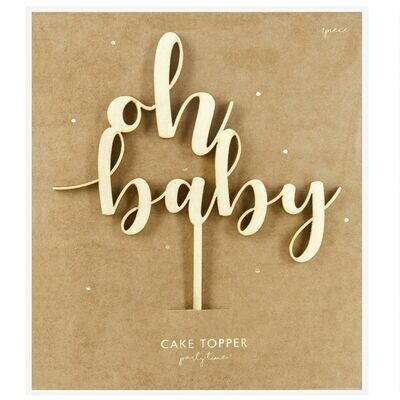 PartyDeco Cake Topper 'Oh Baby' - WOODEN -Τόπερ Τούρτας