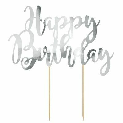 PartyDeco Cake Topper 'Happy Birthday' - SILVER -Τόπερ Τούρτας