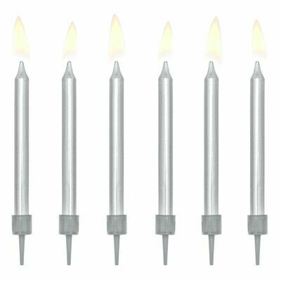 PartyDeco Birthday Candles -6εκ PLAIN SILVER 6 τεμ