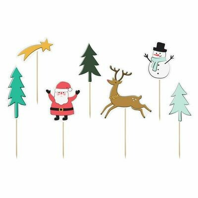 PartyDeco Cake Toppers -MERRY CHRISTMAS SET 7 τεμ.