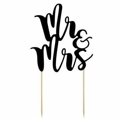 By PartyDeco -Cake Topper 'Mr & Mrs' - BLACK -Τόπερ Τούρτας