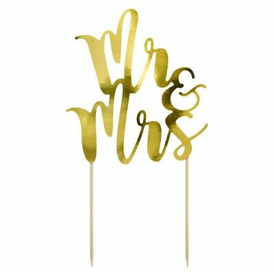 PartyDeco Cake Topper 'Mr & Mrs' - GOLD -Τόπερ Τούρτας