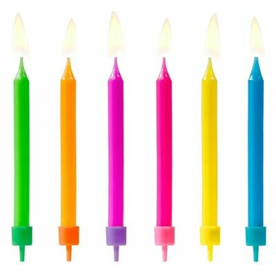 PartyDeco Birthday Candles -COLOURFUL MIX 6 τεμ.