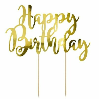 PartyDeco Cake Topper 'Happy Birthday' - GOLD -Τόπερ Τούρτας