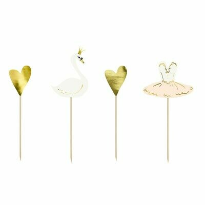 By PartyDeco -Cake Toppers -LOVELY SWAN SET 4 τεμ.