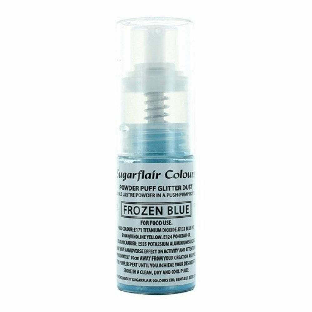 Sugarflair Powder Puff Glitter Dust Pump Spray -FROZEN BLUE 10g Βρώσιμο γκλίτερ σε αντλία -Μπλε του Πάγου