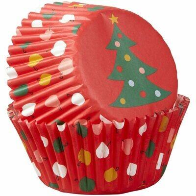 Wilton Christmas Cupcake Cases -TREE & ORNAMENTS -Θήκες ψησίματος χριστουγεννιάτικες 75 τεμ