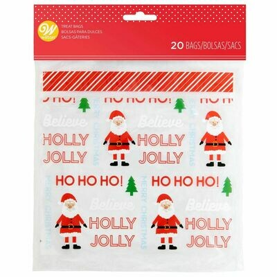Wilton Christmas Treat Bags -HOLLY JOLLY Resealable Bags -Pack of 20