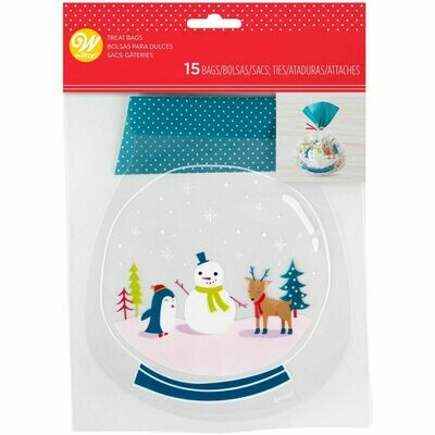Wilton SNOW GLOBE Shaped Treat Bags  -Pack of 15