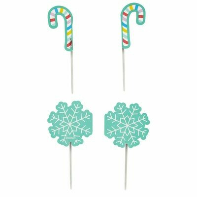 Wilton Treat Picks SNOWFLAKES & CANDY CANES -12τεμ