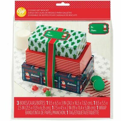 Wilton Christmas Treat Boxes with Ribbons Set of 3 σετ κουτιά χριστουγεννιάτικα με κορδέλες