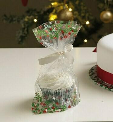 Culpitt Bags -Cupcake Bags with Ribbon Ties -HOLLY DESIGN -Διάφανες Σακούλες με Εκτύπωση 'ΓΚΙ', Κορδέλες Δεσίματος και Βάση για Κάπκεικς 12 τεμ