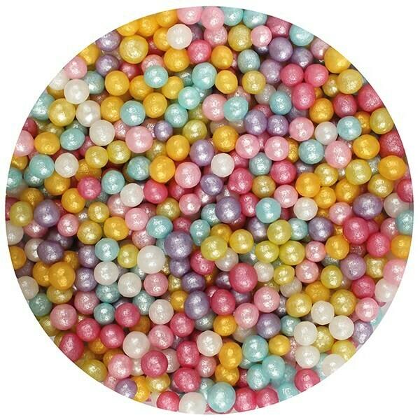 Purple Cupcakes Sugarballs -MULTI-COLOURED SHIMMER 4mm -Πολύχρωμες Βρώσιμες Πέρλες 80γρ