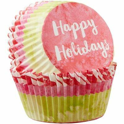 Wilton Christmas Cupcake Cases -HAPPY HOLIDAYS -θήκες ψησίματος 75 τεμάχια